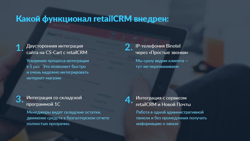Внедренный функционал retailCRM